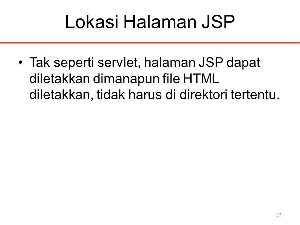 Lokasi Halaman JSP •Tak seperti servlet, halaman JSP dapat diletakkan dimanapun file HTML diletakkan, tidak harus di direktori tertentu.