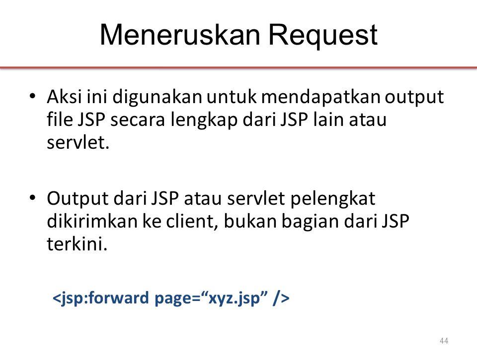 Meneruskan Request • Aksi ini digunakan untuk mendapatkan output file JSP secara lengkap dari JSP lain atau servlet.