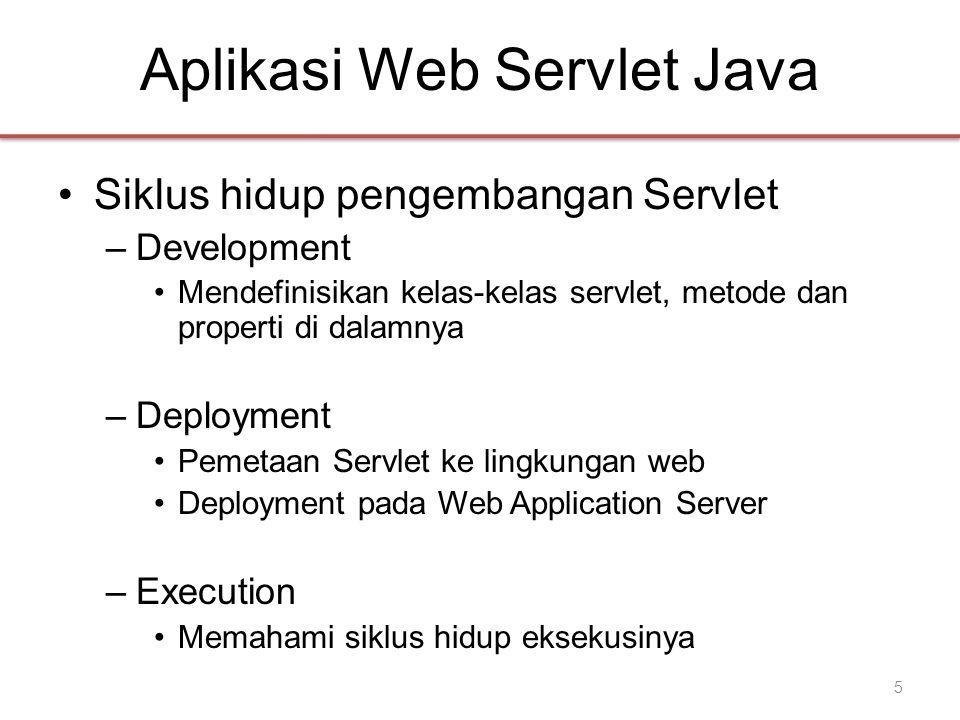 Aplikasi Web Servlet Java •Siklus hidup pengembangan Servlet –Development •Mendefinisikan kelas-kelas servlet, metode dan properti di dalamnya –Deployment •Pemetaan Servlet ke lingkungan web •Deployment pada Web Application Server –Execution •Memahami siklus hidup eksekusinya 5