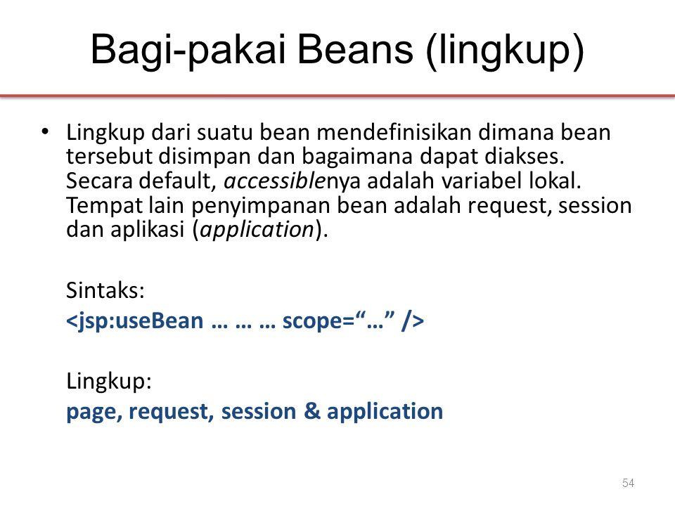 Bagi-pakai Beans (lingkup) • Lingkup dari suatu bean mendefinisikan dimana bean tersebut disimpan dan bagaimana dapat diakses.