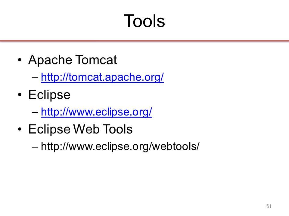 Tools •Apache Tomcat –http://tomcat.apache.org/http://tomcat.apache.org/ •Eclipse –http://www.eclipse.org/http://www.eclipse.org/ •Eclipse Web Tools –http://www.eclipse.org/webtools/ 61