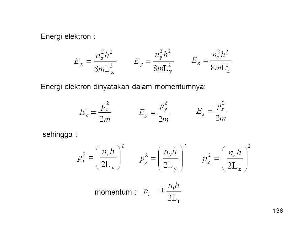 Energi elektron : Energi elektron dinyatakan dalam momentumnya: sehingga : momentum : 136