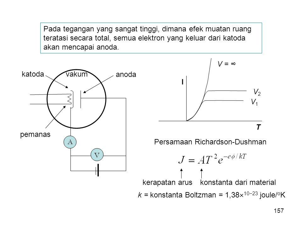 Pada tegangan yang sangat tinggi, dimana efek muatan ruang teratasi secara total, semua elektron yang keluar dari katoda akan mencapai anoda. Persamaa