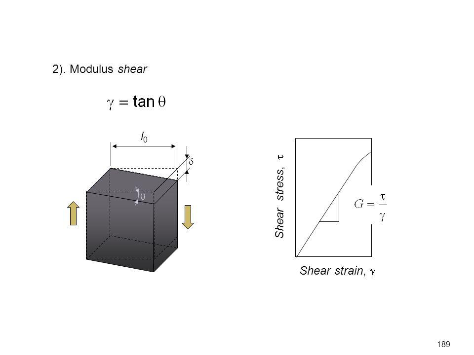 2). Modulus shear Shear strain,  Shear stress,   l0l0  189