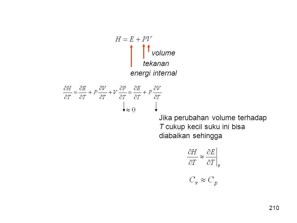 volume tekanan energi internal Jika perubahan volume terhadap T cukup kecil suku ini bisa diabaikan sehingga 210