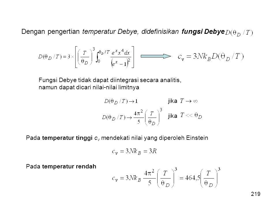 Dengan pengertian temperatur Debye, didefinisikan fungsi Debye Fungsi Debye tidak dapat diintegrasi secara analitis, namun dapat dicari nilai-nilai li