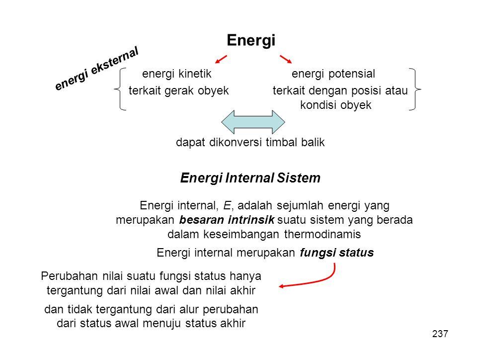 Energi Internal Sistem Energi internal, E, adalah sejumlah energi yang merupakan besaran intrinsik suatu sistem yang berada dalam keseimbangan thermod