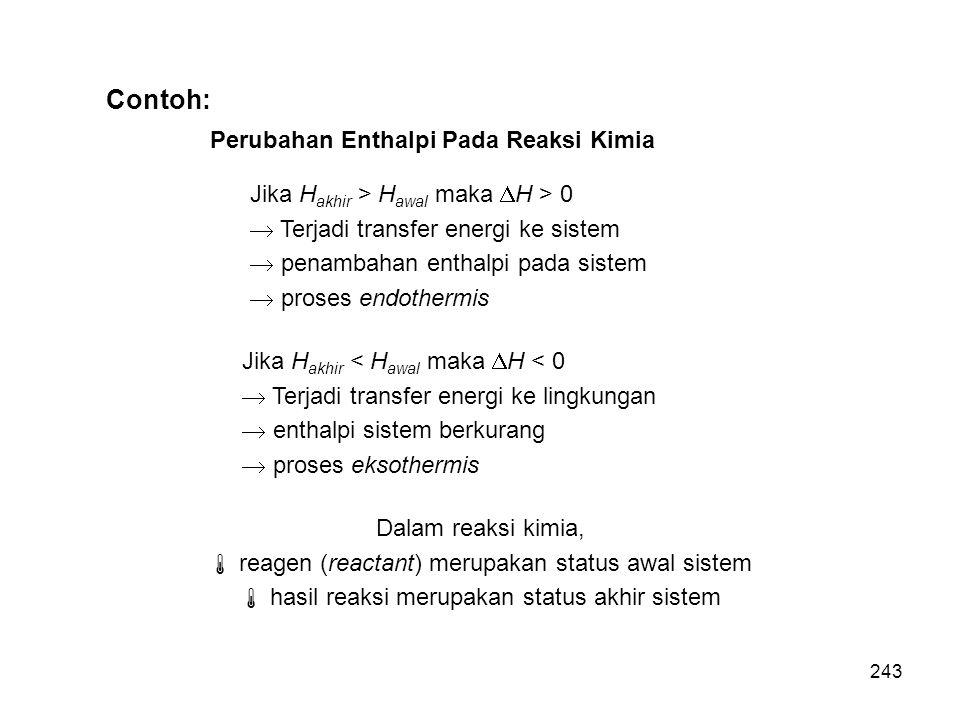 Contoh: Perubahan Enthalpi Pada Reaksi Kimia Jika H akhir > H awal maka  H > 0  Terjadi transfer energi ke sistem  penambahan enthalpi pada sistem