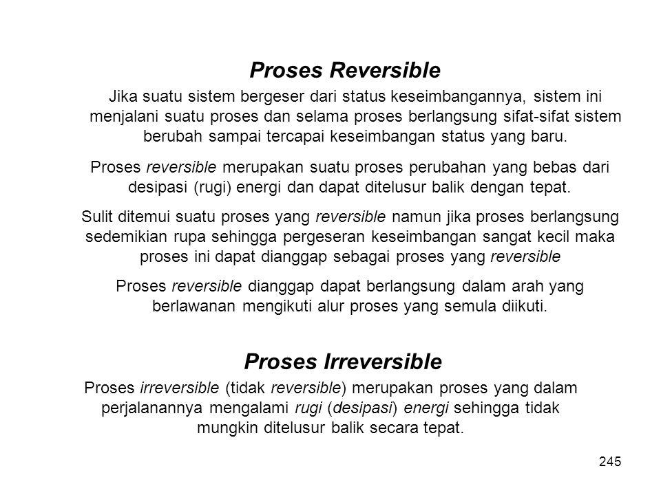 Proses Reversible Jika suatu sistem bergeser dari status keseimbangannya, sistem ini menjalani suatu proses dan selama proses berlangsung sifat-sifat