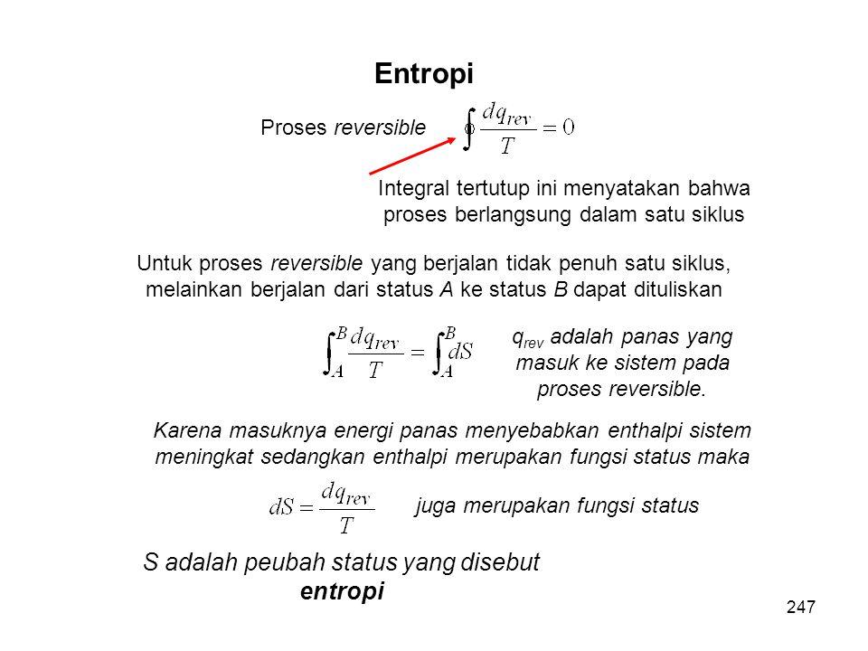 Proses reversible Integral tertutup ini menyatakan bahwa proses berlangsung dalam satu siklus Untuk proses reversible yang berjalan tidak penuh satu s