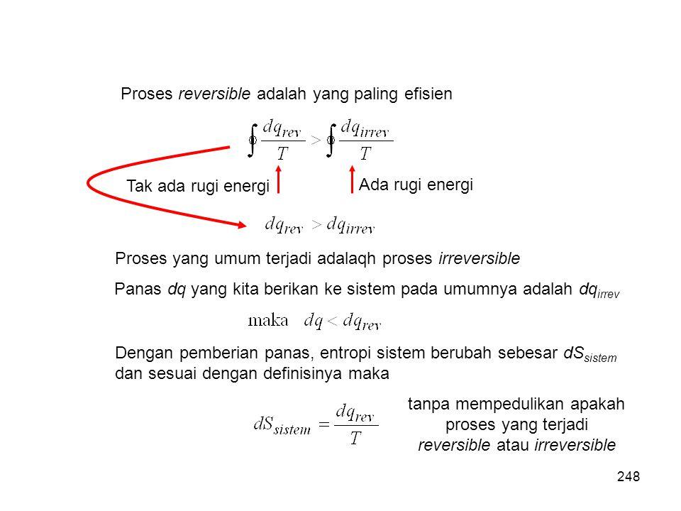 Proses reversible adalah yang paling efisien Tak ada rugi energi Ada rugi energi Proses yang umum terjadi adalaqh proses irreversible Panas dq yang ki