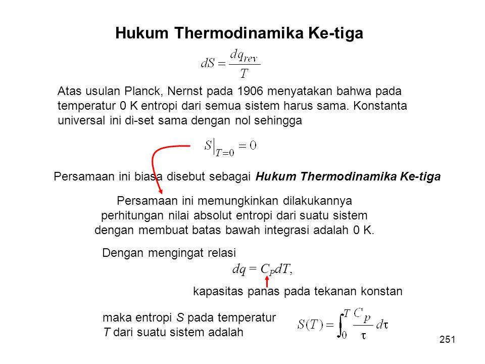 Atas usulan Planck, Nernst pada 1906 menyatakan bahwa pada temperatur 0 K entropi dari semua sistem harus sama. Konstanta universal ini di-set sama de