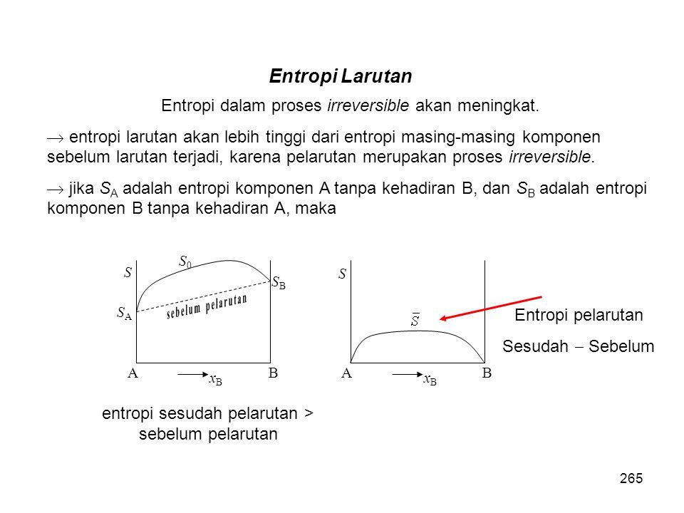 Entropi dalam proses irreversible akan meningkat.  entropi larutan akan lebih tinggi dari entropi masing-masing komponen sebelum larutan terjadi, kar