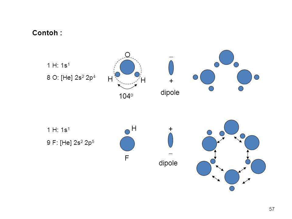 1 H: 1s 1 8 O: [He] 2s 2 2p 4 O H H 104 o +  dipole 1 H: 1s 1 9 F: [He] 2s 2 2p 5 F H  + dipole Contoh : 57