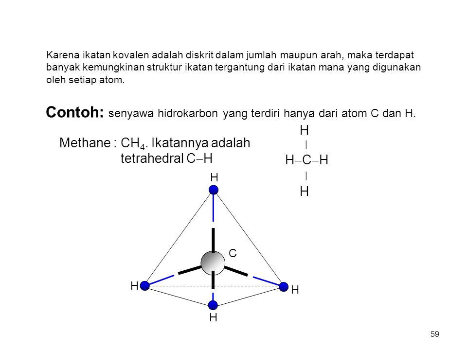 Contoh: senyawa hidrokarbon yang terdiri hanya dari atom C dan H. Methane : CH 4. Ikatannya adalah tetrahedral C  H H | H  C  H | H Karena ikatan k