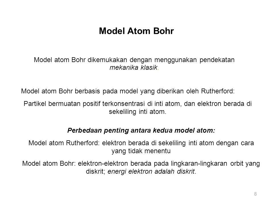 Model atom Bohr berbasis pada model yang diberikan oleh Rutherford: Partikel bermuatan positif terkonsentrasi di inti atom, dan elektron berada di sek