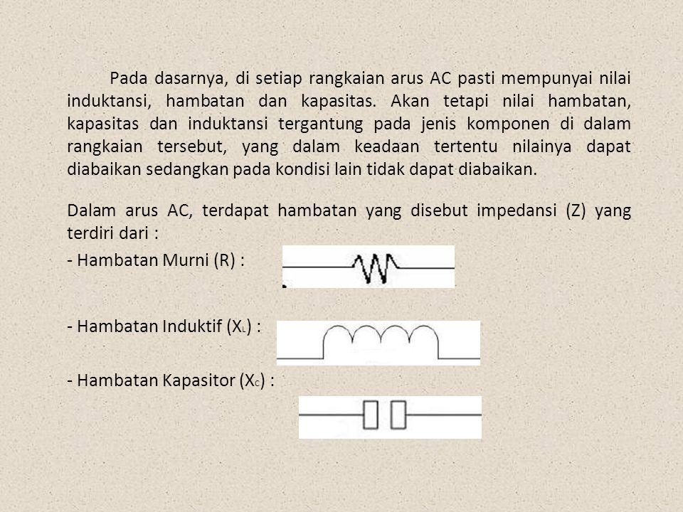 Besar masing-masing hambatan (kecuali R) ditentukan oleh frekuensinya sesuai rumus berikut : - Untuk Rangkaian Kapasitor : - Untuk Rangkaian Induktor :