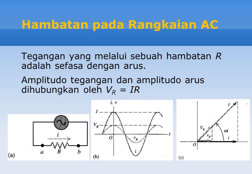 Hambatan pada Rangkaian AC Tegangan yang melalui sebuah hambatan R adalah sefasa dengan arus. Amplitudo tegangan dan amplitudo arus dihubungkan oleh V