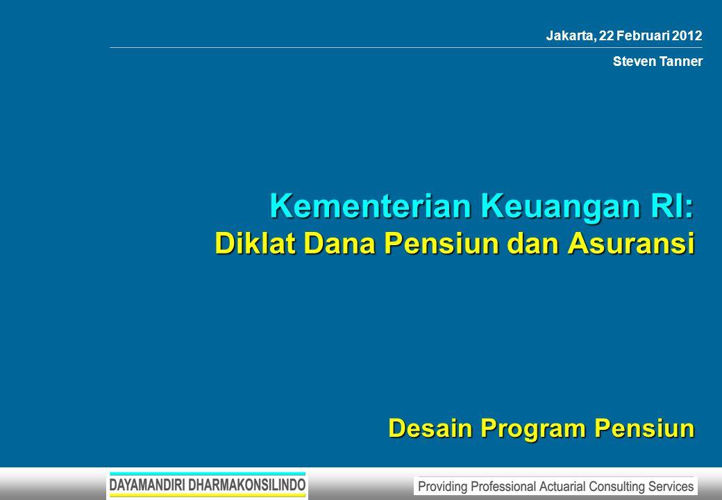 Kementerian Keuangan RI: Diklat Dana Pensiun dan Asuransi – Desain Program Pensiun 122 Lampiran 10 Lampiran 10 (lanjutan) Keterangan31/12/201031/12/2011 Kewajiban Solvabilitas1,1081,300 Kewajiban Aktuaria1,6841,900 Kekayaan Untuk Pendanaan1,0001,200 Defisit684700 NS sisa DMKL (K/S)10872 NS sisa DMKL (non K/S)576384 DMKL (K/S) baru028 DMKL (non K/S) baru0216 I/Tambahan DMKL (K/S)3 = 108 / 36 I/Tambahan DMKL (non K/S)16 = 576 / 36 1) Masa angsuran Iuran Tambahan 31/12/2010 = 36 bulan dan tanpa memperhitungkan bunga Pendanaan Contoh 1 (2)