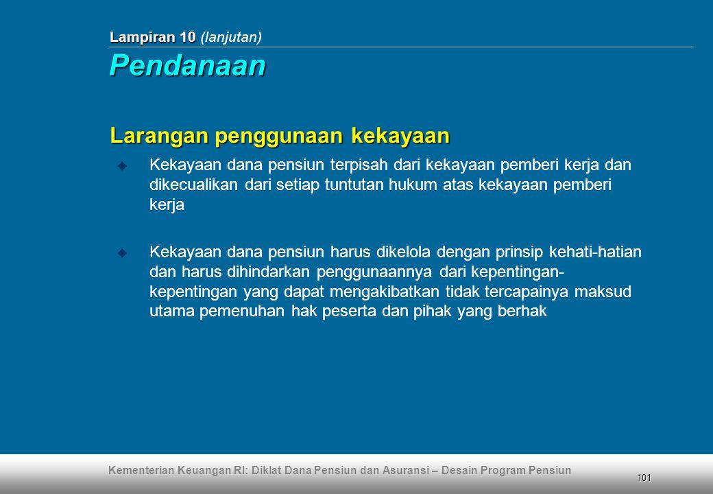 Kementerian Keuangan RI: Diklat Dana Pensiun dan Asuransi – Desain Program Pensiun 101 Lampiran 10 Lampiran 10 (lanjutan) Larangan penggunaan kekayaan
