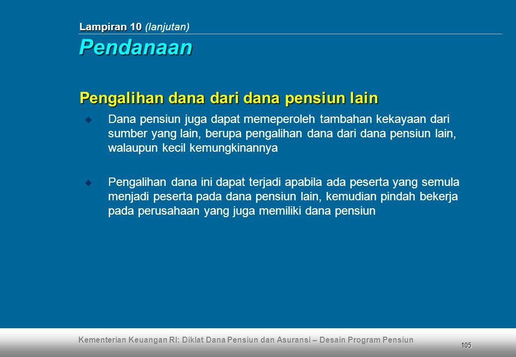 Kementerian Keuangan RI: Diklat Dana Pensiun dan Asuransi – Desain Program Pensiun 105 Lampiran 10 Lampiran 10 (lanjutan) Pengalihan dana dari dana pe