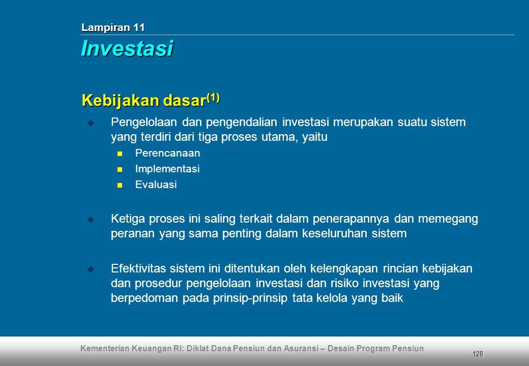 Kementerian Keuangan RI: Diklat Dana Pensiun dan Asuransi – Desain Program Pensiun 128 Lampiran 11 Kebijakan dasar (1)  Pengelolaan dan pengendalian