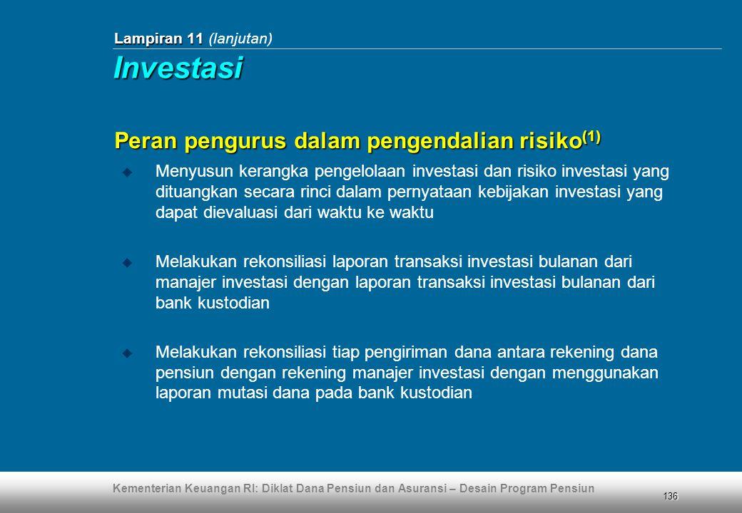 Kementerian Keuangan RI: Diklat Dana Pensiun dan Asuransi – Desain Program Pensiun 136 Lampiran 11 Lampiran 11 (lanjutan) Peran pengurus dalam pengend