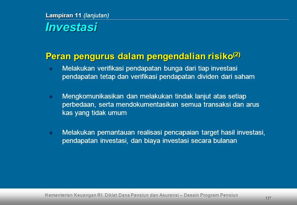 Kementerian Keuangan RI: Diklat Dana Pensiun dan Asuransi – Desain Program Pensiun 137 Lampiran 11 Lampiran 11 (lanjutan)  Melakukan verifikasi penda