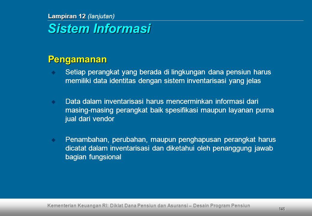 Kementerian Keuangan RI: Diklat Dana Pensiun dan Asuransi – Desain Program Pensiun 146 Lampiran 12 Lampiran 12 (lanjutan)  Setiap perangkat yang bera