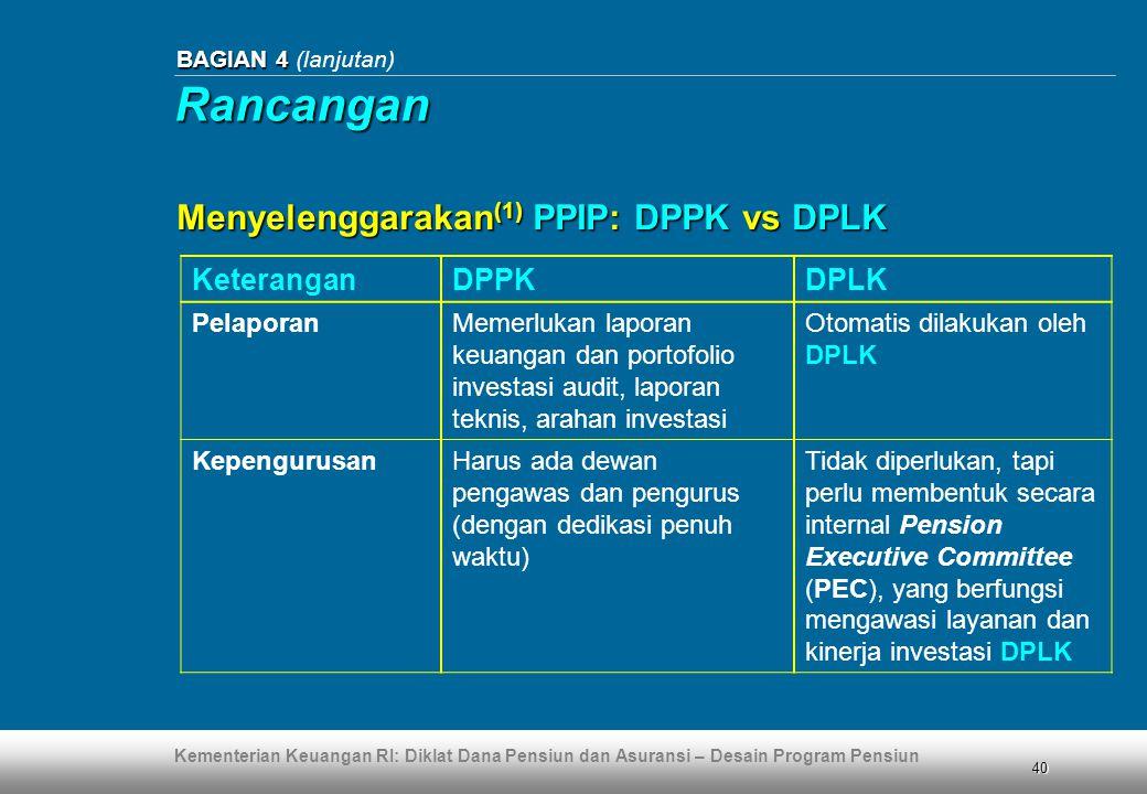 Kementerian Keuangan RI: Diklat Dana Pensiun dan Asuransi – Desain Program Pensiun 40 BAGIAN 4 BAGIAN 4 (lanjutan) KeteranganDPPKDPLK PelaporanMemerlu