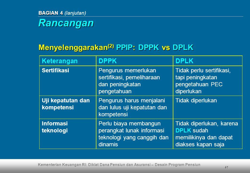 Kementerian Keuangan RI: Diklat Dana Pensiun dan Asuransi – Desain Program Pensiun 41 BAGIAN 4 BAGIAN 4 (lanjutan) KeteranganDPPKDPLK SertifikasiPengu