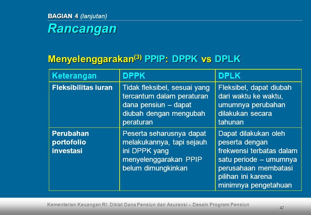 Kementerian Keuangan RI: Diklat Dana Pensiun dan Asuransi – Desain Program Pensiun 42 BAGIAN 4 BAGIAN 4 (lanjutan) KeteranganDPPKDPLK Fleksibilitas iu