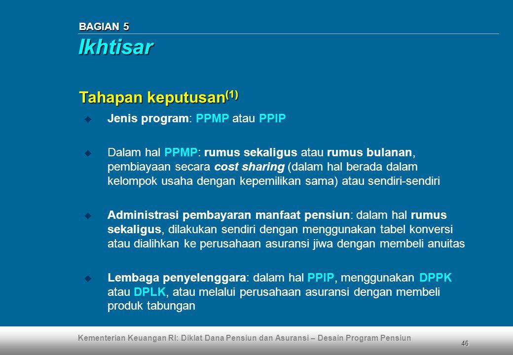 Kementerian Keuangan RI: Diklat Dana Pensiun dan Asuransi – Desain Program Pensiun 46 BAGIAN 5  Jenis program: PPMP atau PPIP  Dalam hal PPMP: rumus