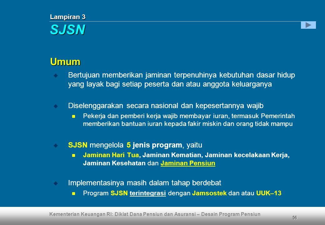 Kementerian Keuangan RI: Diklat Dana Pensiun dan Asuransi – Desain Program Pensiun 56 Lampiran 3  Bertujuan memberikan jaminan terpenuhinya kebutuhan