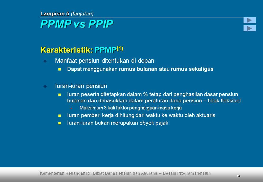 Kementerian Keuangan RI: Diklat Dana Pensiun dan Asuransi – Desain Program Pensiun 64  Manfaat pensiun ditentukan di depan  Dapat menggunakan rumus