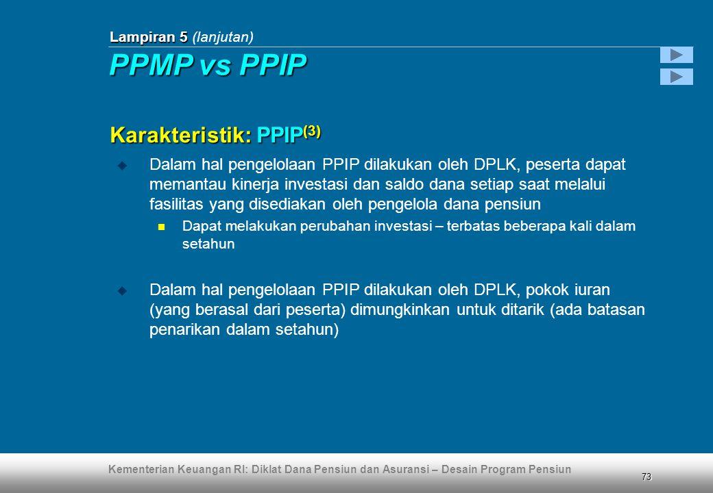 Kementerian Keuangan RI: Diklat Dana Pensiun dan Asuransi – Desain Program Pensiun 73  Dalam hal pengelolaan PPIP dilakukan oleh DPLK, peserta dapat