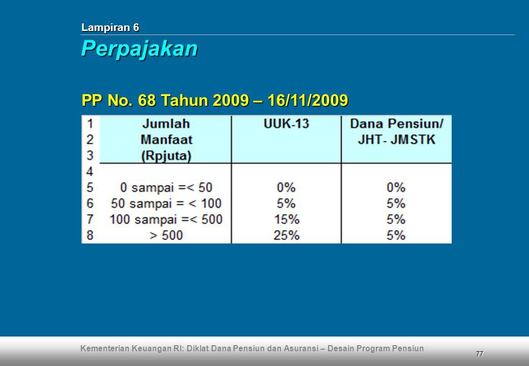 Kementerian Keuangan RI: Diklat Dana Pensiun dan Asuransi – Desain Program Pensiun 77 Lampiran 6 PP No. 68 Tahun 2009 – 16/11/2009 Perpajakan