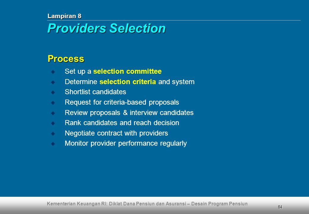Kementerian Keuangan RI: Diklat Dana Pensiun dan Asuransi – Desain Program Pensiun 84  Set up a selection committee  Determine selection criteria an