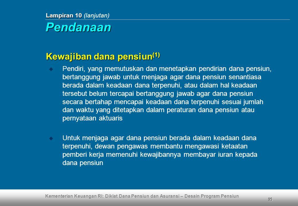 Kementerian Keuangan RI: Diklat Dana Pensiun dan Asuransi – Desain Program Pensiun 95 Lampiran 10 Lampiran 10 (lanjutan) Kewajiban dana pensiun (1) 