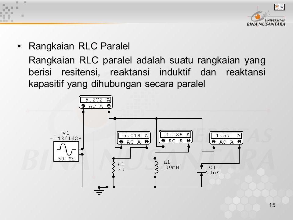 15 •Rangkaian RLC Paralel Rangkaian RLC paralel adalah suatu rangkaian yang berisi resitensi, reaktansi induktif dan reaktansi kapasitif yang dihubung