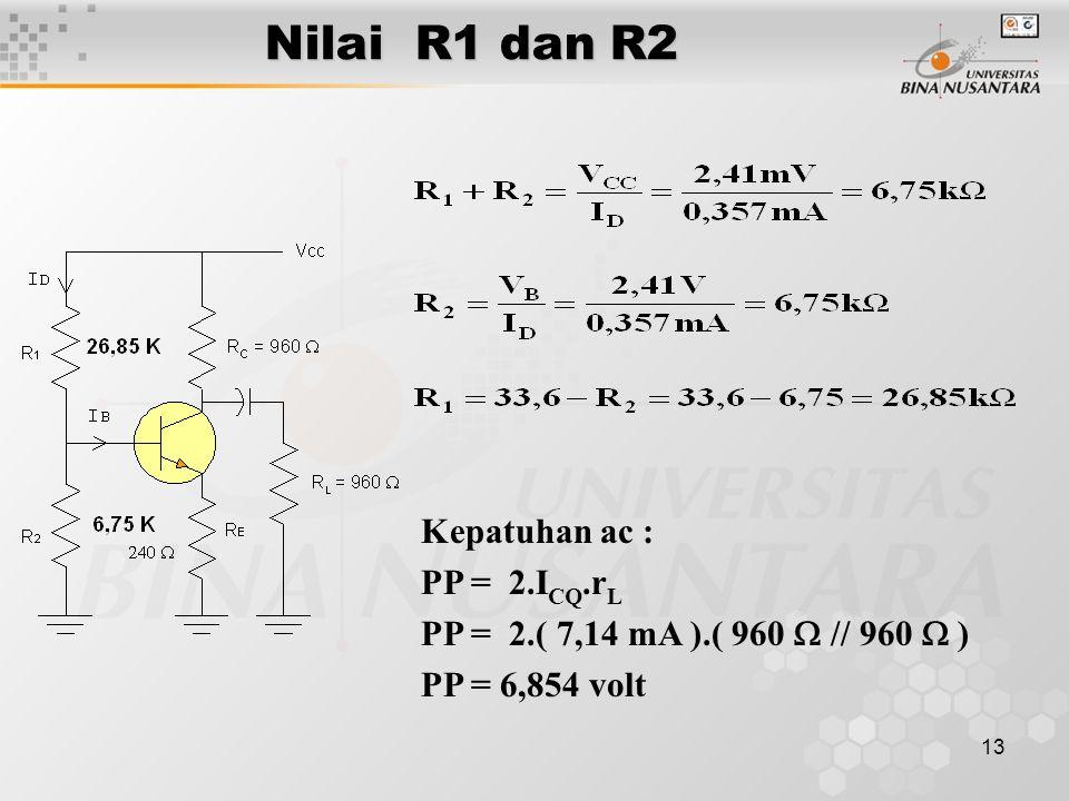 13 Nilai R1 dan R2 Kepatuhan ac : PP = 2.I CQ.r L PP = 2.( 7,14 mA ).( 960  // 960  ) PP = 6,854 volt