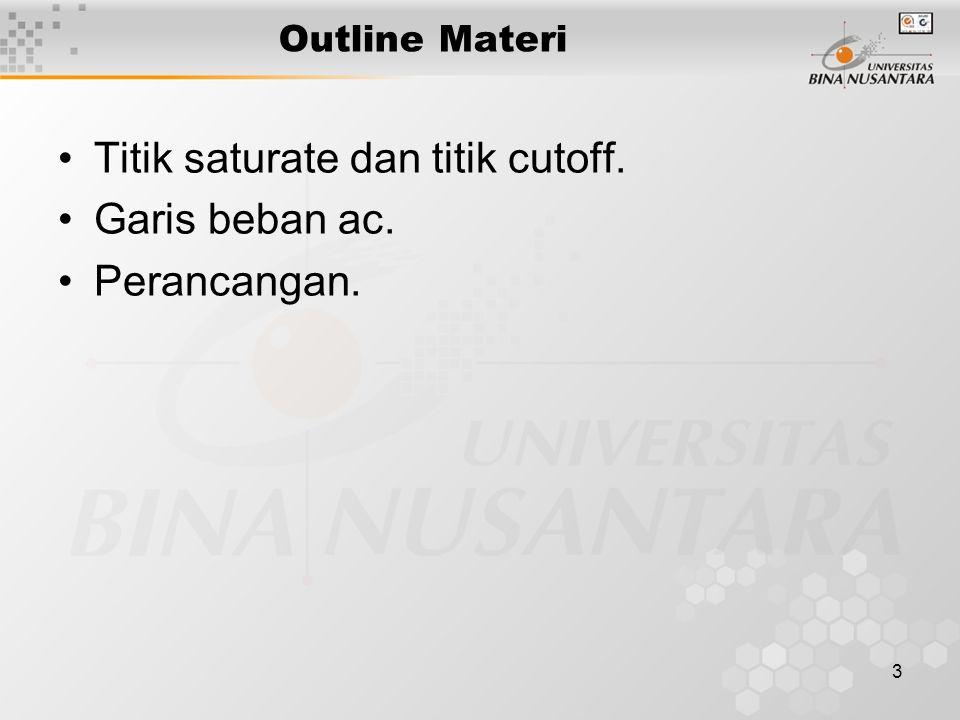 3 Outline Materi •Titik saturate dan titik cutoff. •Garis beban ac. •Perancangan.