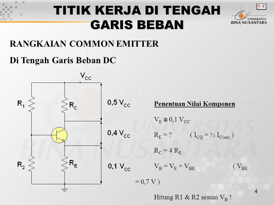 15 RANGKAIAN COMMON COLLECTOR TITIK Q DI TENGAH GARIS BEBAN DC Penentuan Nilai Komponen V E = 0,5 V CC R E = .