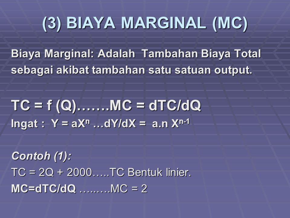 (3) BIAYA MARGINAL (MC) Biaya Marginal: Adalah Tambahan Biaya Total sebagai akibat tambahan satu satuan output. TC = f (Q)…….MC = dTC/dQ Ingat : Y = a