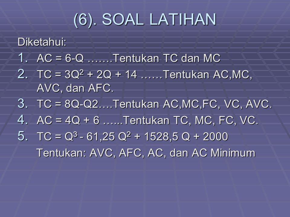 (6). SOAL LATIHAN Diketahui: 1. AC = 6-Q …….Tentukan TC dan MC 2. TC = 3Q 2 + 2Q + 14 ……Tentukan AC,MC, AVC, dan AFC. 3. TC = 8Q-Q2….Tentukan AC,MC,FC