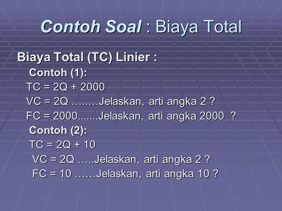 Contoh Soal : Biaya Total Biaya Total (TC) Linier : Contoh (1): Contoh (1): TC = 2Q + 2000 TC = 2Q + 2000 VC = 2Q …..…Jelaskan, arti angka 2 ? VC = 2Q