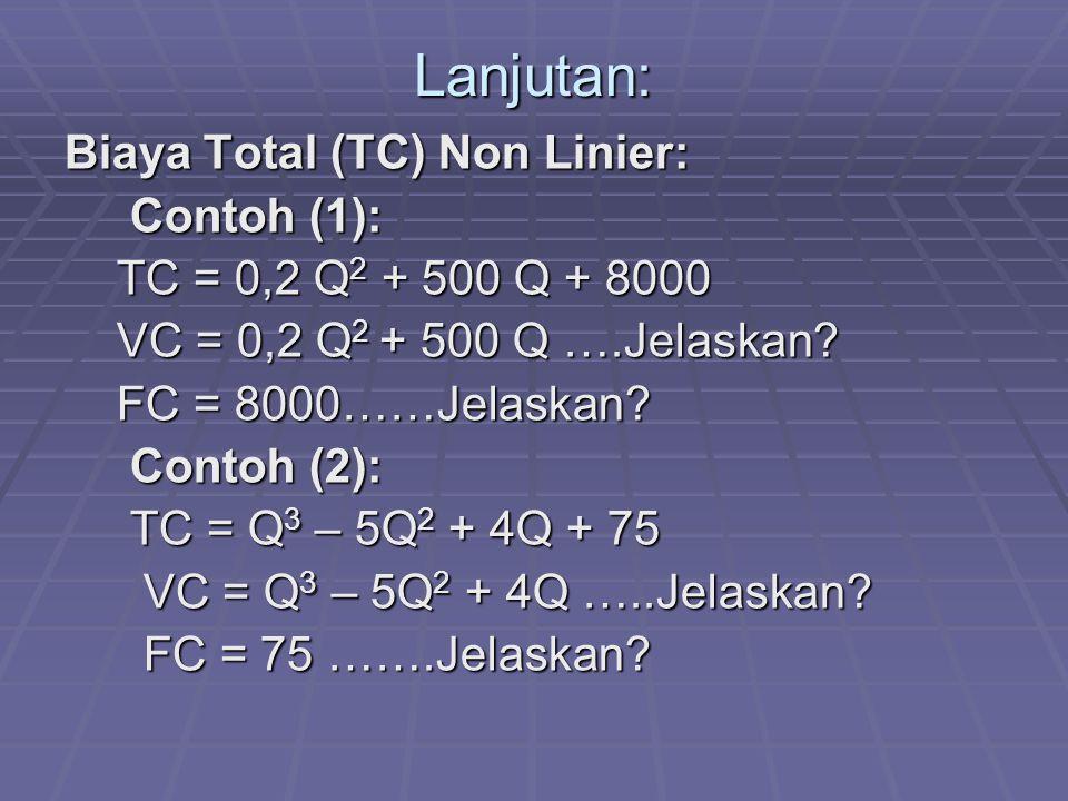 Lanjutan: Biaya Total (TC) Non Linier: Contoh (1): Contoh (1): TC = 0,2 Q 2 + 500 Q + 8000 TC = 0,2 Q 2 + 500 Q + 8000 VC = 0,2 Q 2 + 500 Q ….Jelaskan