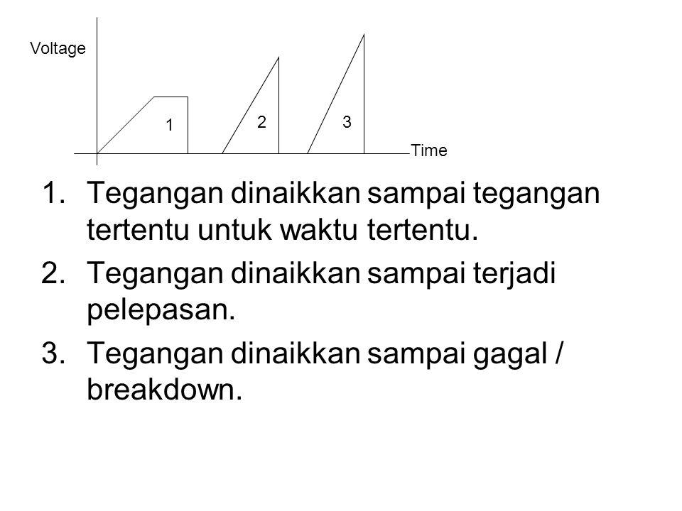 1.Tegangan dinaikkan sampai tegangan tertentu untuk waktu tertentu. 2.Tegangan dinaikkan sampai terjadi pelepasan. 3.Tegangan dinaikkan sampai gagal /