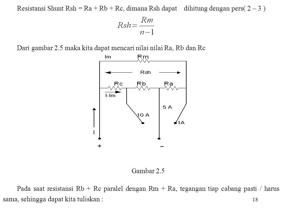 18 Resistansi Shunt Rsh = Ra + Rb + Rc, dimana Rsh dapat dihitung dengan pers( 2 – 3 ) Dari gambar 2.5 maka kita dapat mencari nilai nilai Ra, Rb dan