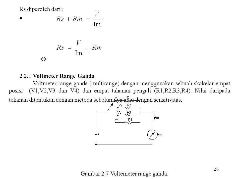 20 Rs diperoleh dari :   2.2.1 Voltmeter Range Ganda Voltmeter range ganda (multirange) dengan menggunakan sebuah skakelar empat posisi (V1,V2,V3 da